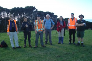 From left: Jo Peace (Manaaki Whenua), Hoa Nguyen (BMR), Scott Bartlam (Manaaki Whenua), Bruce Burns (University of Auckland), Luitgard Schwendenmann (University of Auckland), Pieter Tuinder (Kaitiaki Manager, Ngāti Manuhiri), Matt Maitland (Auckland Counc
