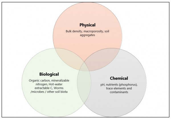 Figure 1. Examples of physical, chemical and biological soil health indicators