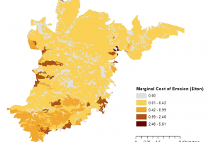Figure 2. The spatial distribution of the marginal cost of erosion ($/tonne)