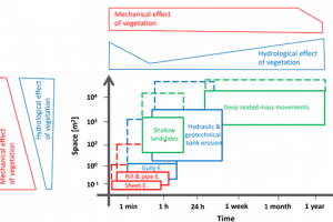 Figure 1. A conceptual visualisation of the spatio-temporal dimensions of erosion processes triggered by hydrological events. On the top and left, the meaning of the effects of vegetation for different temporal and spatial scales are illustrated. Dashed l