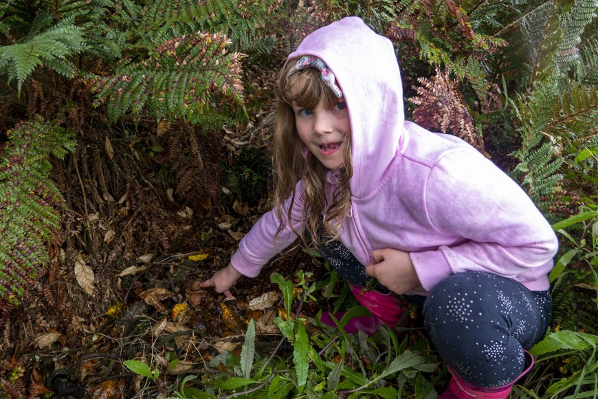 Future mycologist Esjay Jenkinson (5) was thrilled when she discovered an earthstar