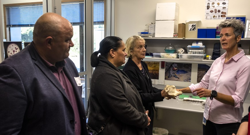 Matiu Payne (Te Taumutu Rūnanga), Dione Payne (Director for Māori and Pasifika Development, Lincoln University), and Caroline Sanders (MW board member)  being shown around the palaeoecology lab by MW's Janet Wilmshurst