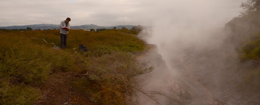 Gabriel Moinet sampling at the edge of the steam-heated depression, a geo-thermal feature near Taupō