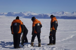 Scientists on the ice.  Photo: Shulamit Gordon ©Antarctica New Zealand Pictorial Collection. 2009-2010