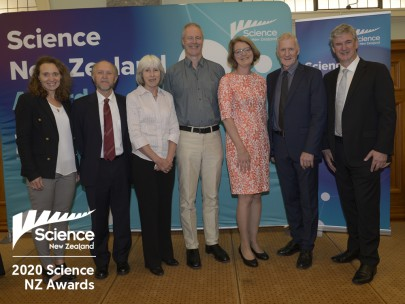 John Dymond, Anne Sutherland, Peter Newsome, Heathern North, and David Pairman from the LCDB team at the Science NZ award ceremony, along with Emily Parker (far left) and Richard Gordon (far right)