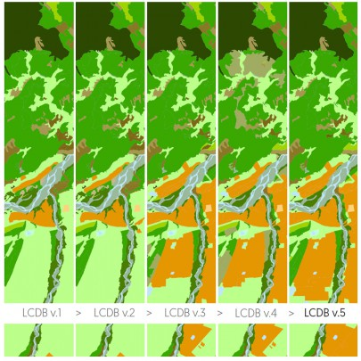 Progressive changes in land-cover mapping are shown with each new version of the LCDB