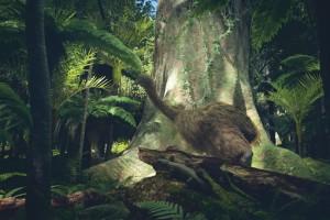 Virtual reality screenshots showing likenesses of prehistoric flora and fauna in pre-human Aotearoa