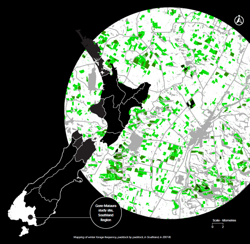 Mapping of winter forage frequency, paddock by paddock, in Southland, in 2017-18.