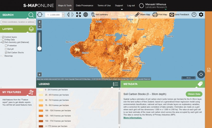 S-map Online: predicted soil carbon stocks in the middle North Island.