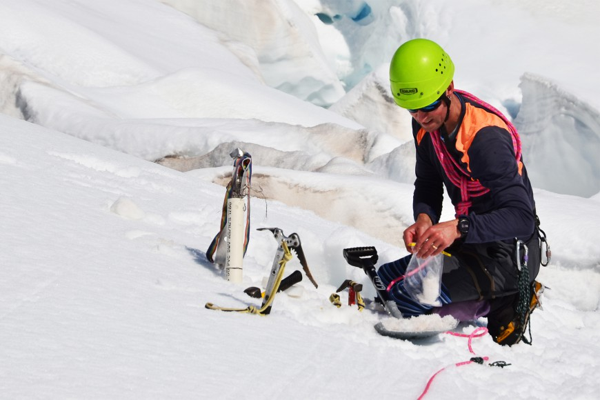Phil Novis taking snow and ice samples from the Franz Josef Glacier in Westland Tai Poutini National Park