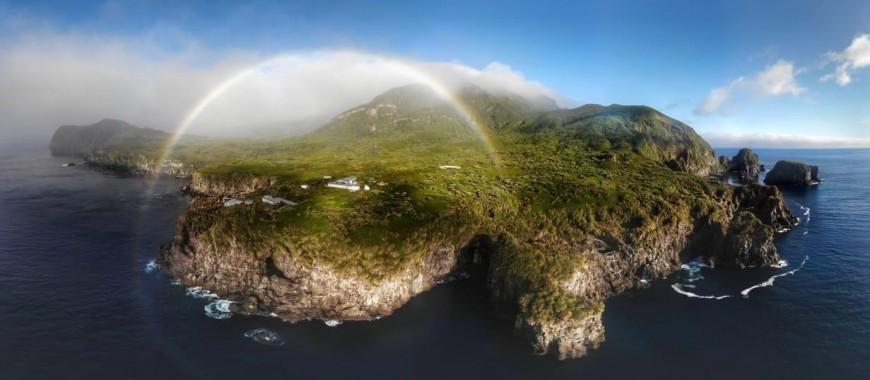 Gough Island by drone.  Credit: RSPB/C. Jones