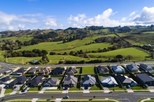Urban development encroaching on productive land in Pōkeno, Waikato.