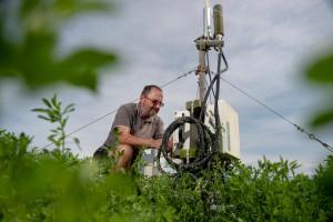 John Hunt with equipment set up for data collection at Ashley Dene farm in Springston. Image: Brad White