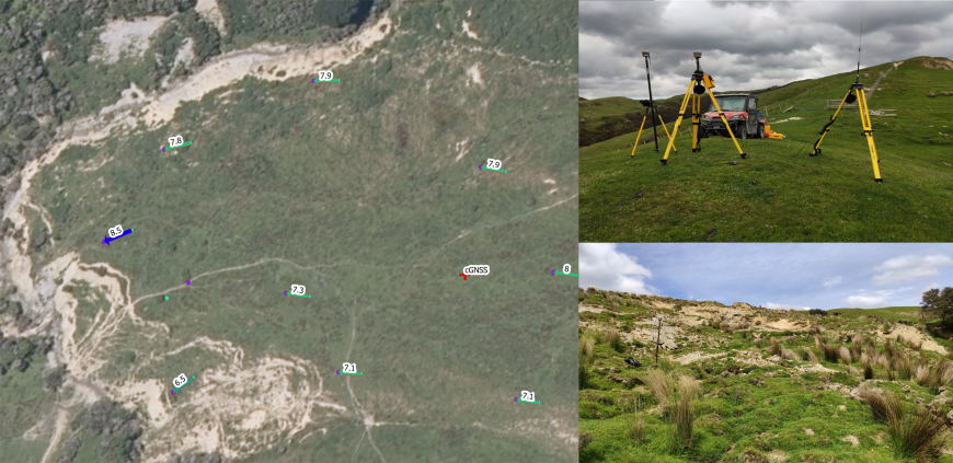 Figure 3. Distance (in metres) that survey pegs moved over 12 months at the toe of one of the earthflows (left); Equipment set up for surveying earthflow movement (top right); toe of earthflow with a survey peg being surveyed (bottom right).
