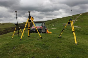 Equipment set up for surveying earthflow movement
