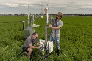 Fig. 2 Instrumentation for continuous field measurements of carbon dioxide exchange at paddock scale using eddy covariance for irrigated lucerne at Ashley Dene. The data provide estimates of carbon input from photosynthesis and combined losses from respir