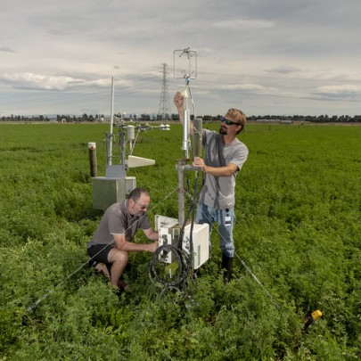 Fig. 2 Instrumentation for continuous field measurements of carbon dioxide exchange at paddock scale using eddy covariance for irrigated lucerne at Ashley Dene. The data provide estimates of carbon input from photosynthesis and combined losses from respiration to contribute to estimation of the annual net carbon balance. Image: Brad White