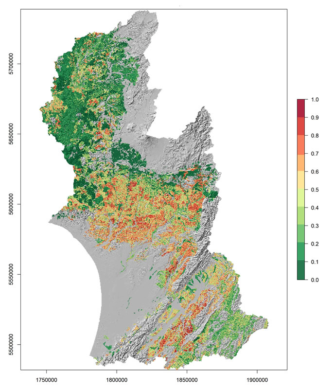Figure 1. Shallow landslide susceptibility predicted with a random forest model using available data to determine the relative likelihood of landslide occurrence based on terrain, soil and land cover attributes for the Horizons region.