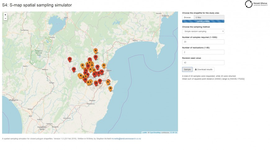 Figure 1: Screenshot of the application; the exact layout will depend on whether the application is run on a large screen or a mobile phone. The sample locations for two realisations of 20 samples using simple random sampling are shown with red or orange markers for the different realisations.
