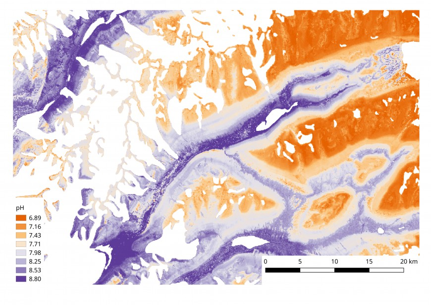 Figure 2: Efforts towards a digital soil map of pH in the McMurdo Dry Valleys: detail over the Wright Valley. Ice-covered areas have been masked out.
