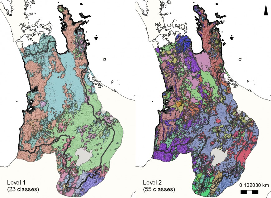 Figure 1: Two levels of proposed soilscapes for the Waikato Region, North Island. Level 2 soilscapes are spatially nested inside Level 1 soilscapes. Coloured zones represent different soilscapes.