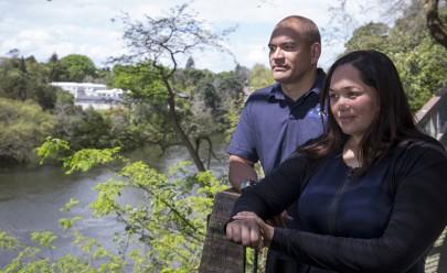 Nicholas Manukau and Yvonne Taura admire the Waikato River.