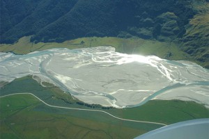 Subterranean river gravels are commonly associated with braided rivers such as the Matukituki River (Susan Wiser)