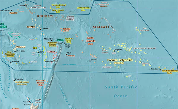 Map of the South Pacific