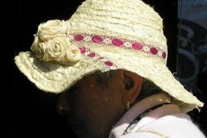 A lacebark hat worn by Ngahuia Wiheera. Image - Sue Scheele